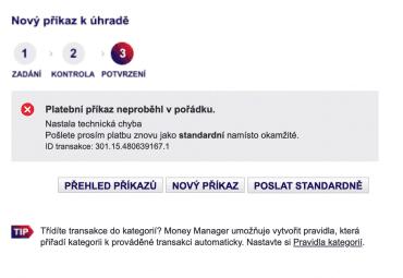 Chybové hlášení v MONETA Money Bank. Okamžitou platbu 400 000 Kč bylo nutné rozdělit na 380 000 Kč a 20 000 Kč, resp. 350 000 Kč a 50 000 Kč. (16. 8. 2020)