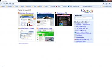 Pohled na Google Chrome po spuštění