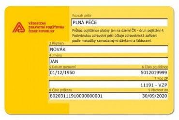Nová podoba zel. průkazu pojištěnce platná od 17. 9. 2019 líc.