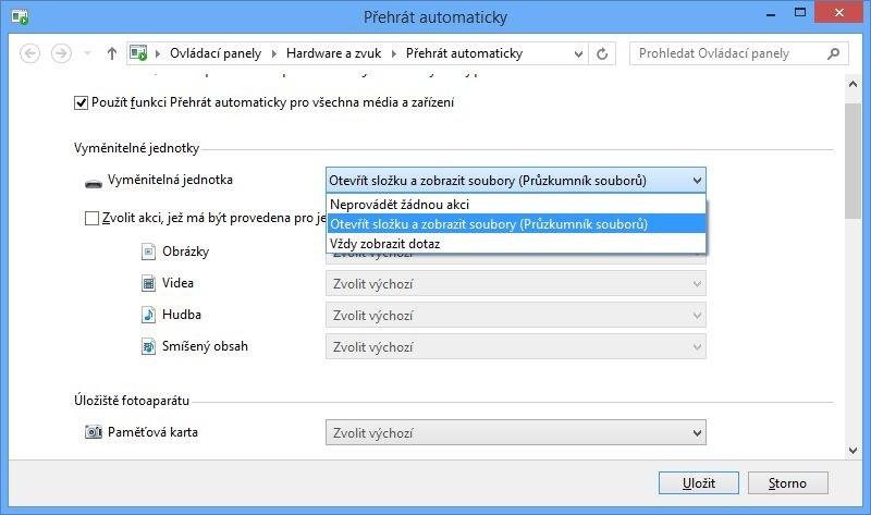 Nastavení automatického přehrávání pro vyměnitelný disk