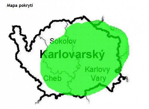 Předpokládaný zásah signálem digitálního rozhlasu na Karlovarsku.