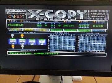 Další screenshot programu X-Copy (tentokrát verze 3.1 PRO), na kterém je vidět úspěšně zkopírovaná disketa. Toto konkrétní nastavení programu jsem úspěšně použil pro vytvoření reálné diskety pro Atari ST.