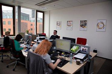 Pracoviště Visa Europe v Praze má jen dvě menší místnosti. (02/2016)