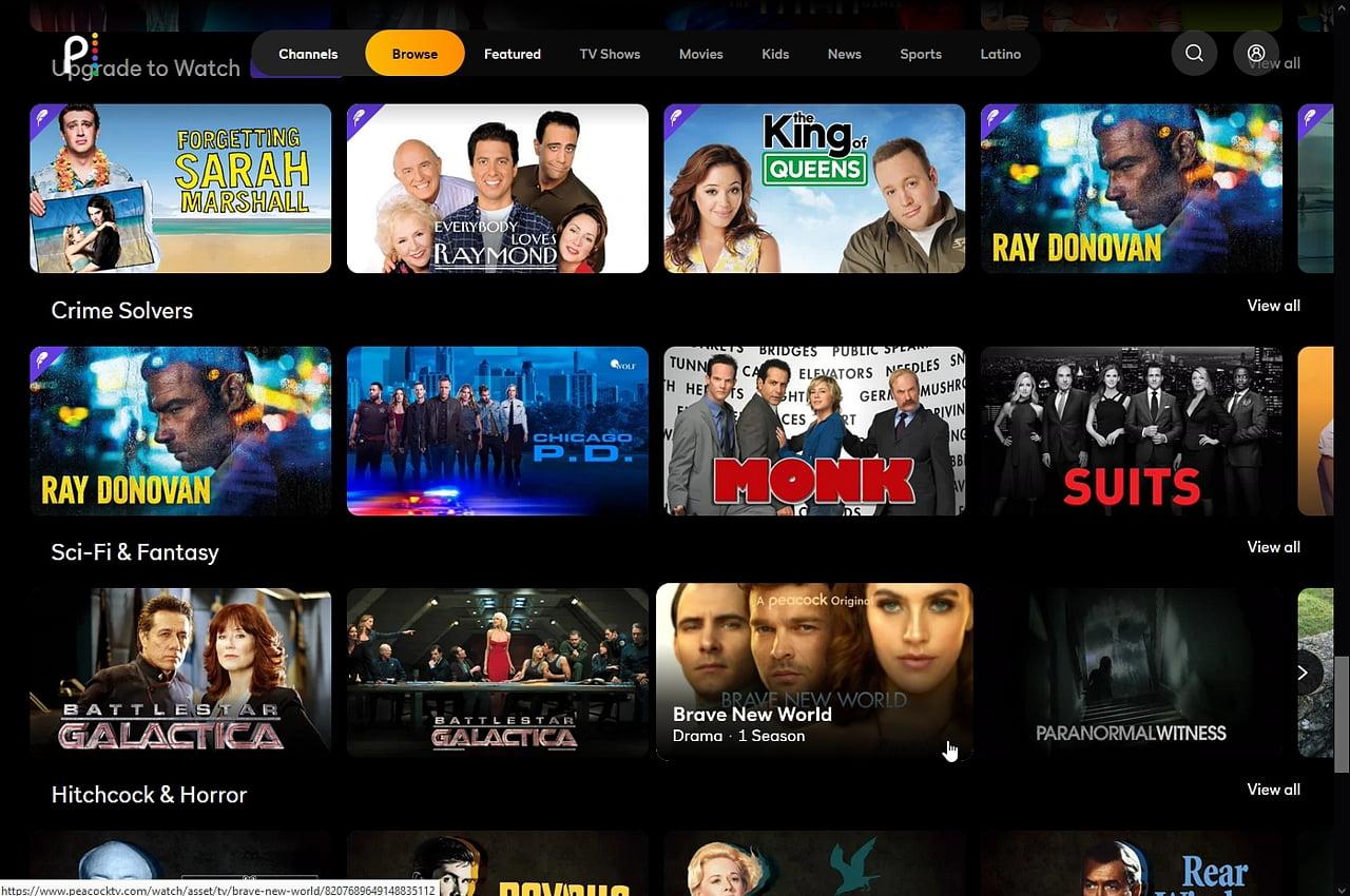 Peacock: Přehrávání pořadů z videotéky