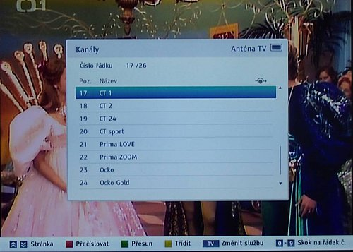 Seznam kanálů vyvoláte přes tlačítko List (OK nemá žádnou funkci), do setřídění kanálů, které vidíte na snímku, se dostanete přes menu.