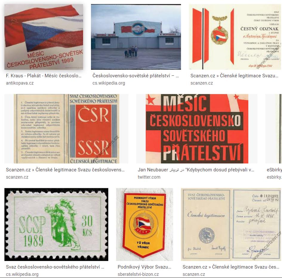 """Zatímco oficiální hesla proklamovalo """"Se Sovětským svazem na věčné časy a nikdy jinak"""", věčné a nezničitelné přátelství bylo stvrzováno sdružováním československých občanů ve Svazu československo-sovětského přátelství (SČSP), mezi lidmi se šeptalo """"Se Sovětským svazem - padla bída na zem""""."""