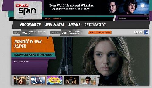 Webové stránky kanálu AXN Spin