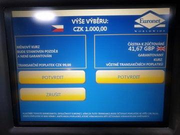 DCC v praxi při použití zahraniční karty na českém bankomatu. (26. 11. 2019)