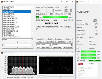 Příjem německých multiplexů pomocí SDR přijímače a SW Qt-DAB