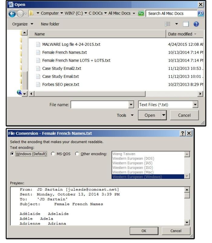 Jako formát textového souboru vyberte formát textového souboru s příponou TXT