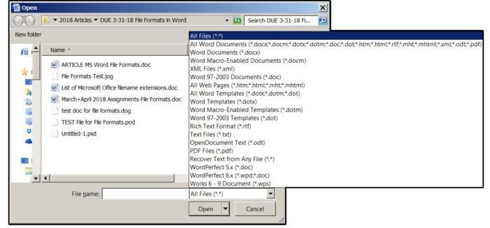 Ze seznamu formátů souborů programu MS Word vyberte položku Všechny soubory.
