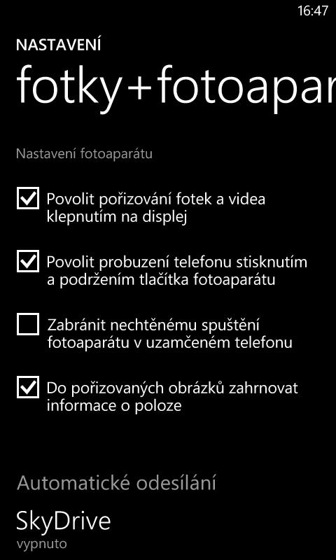 Nokia Lumia 620 nastavení