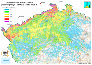 DAB+ multiplex MDR Sachsen, predikce pokrytí