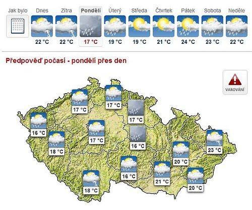 Reálné teploty, které mohou očekávat obyvatelé České republiky v následujících dnech podle serveru iDNES.cz.