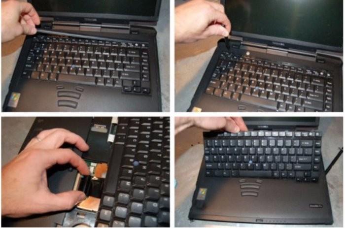 Odeberte západku a odšroubujte šroubky, které drží klávesnici na místě. Následně odpojte kabel v podobě pásky a klávesnici vytáhněte
