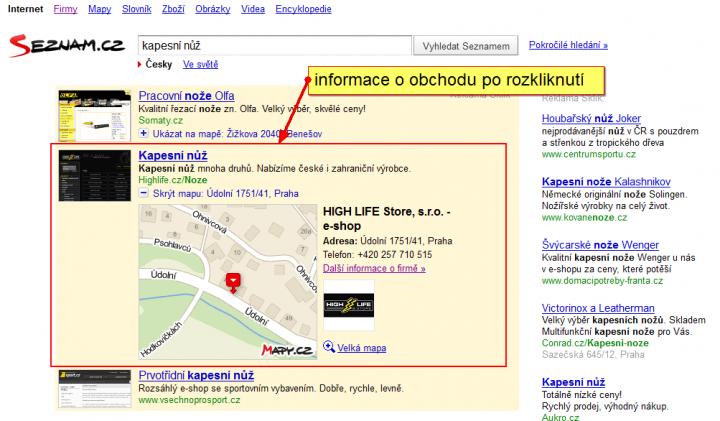 Obr. 5 – Detaily o inzerujícím obchodu z katalogu Firmy.cz, jak se zobrazují po rozkliknutí.