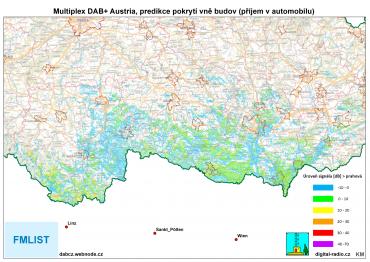 Predikce pokrytí DAB+ Austria vně budov