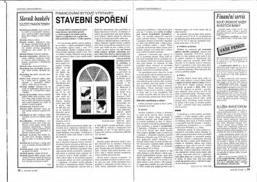 Dobová média připravují čtenáře na novinku v podobě stavebního spoření a vysvětlují jeho výhody. (1992)