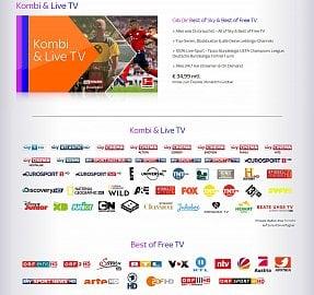 Nabídka stanic v balíčku Kombi & Live TV