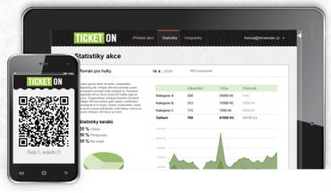 Ticketon: vstupenka na displeji mobilu v podobě QR kódu a statistika prodejů na webu v administrační části.