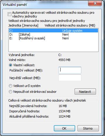 Virtuální paměť u diskové jednotky ve Windows