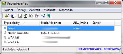 RouterPassView zjistí s kofiguračního souboru heslo do routeru