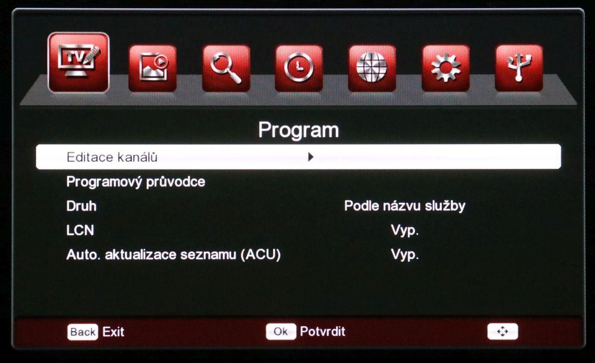Ferguson Ariva T265 - menu nastavení