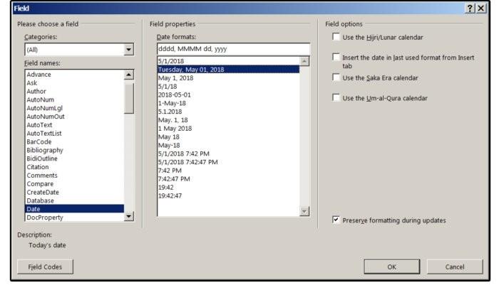 Vložení pole s datem, které se aktualizuje automaticky