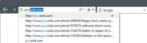 V Internet Exploreru můžete jede nevhodný návrh adresy URL odstranit jedním klepnutím myší