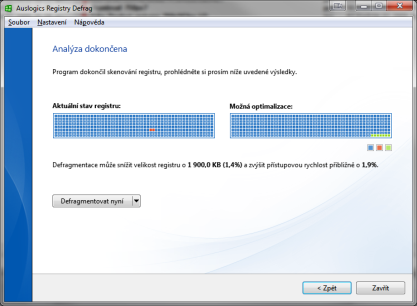 Auslogics Registry Defrag defragmentuje registr