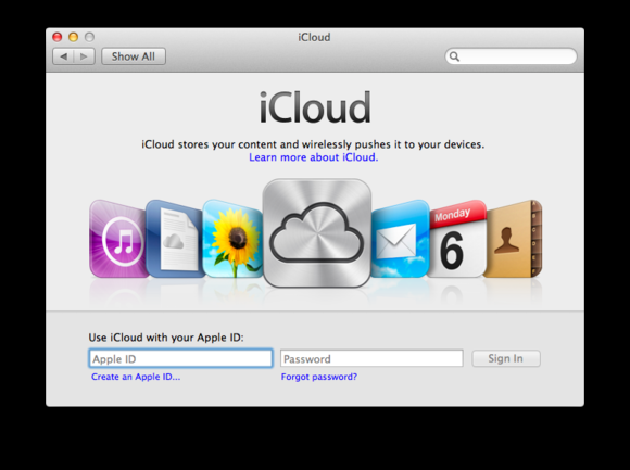 Pole pro konfiguraci služby iCloud na počítači Mac vám umožní přihlášení pomocí Apple ID nebo jeho vytvoření