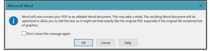 Dialogové okno s upozorněním na převod souboru PDF na editovatelný dokument Word.
