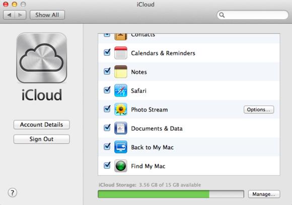 Zaškrtávací políčka: Pokud nestojíte o to, aby byly u funkce iCloud povoleny všechny její funkce, pak postačí zrušit zaškrtnutí u příslušných položek