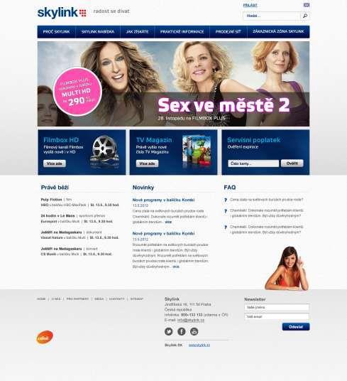 Nový web satelitní služby Skylink, který se zájemcům a zákazníkům představí 1. listopadu.