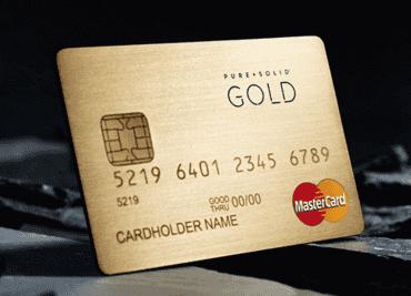 Pure & Solid Mastercard. Předplacená karta z 18karátového zlata.