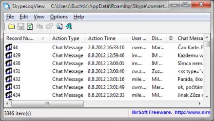 SkypeLogView vám poskytne přehledně historii konverzací a volání na Skype