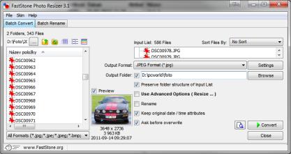 FastStone Photo Resizer zmenší a přejmenuje fotografie