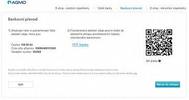 Pomocí QR platby můžete poslat peníze na jakýkoli bankovní účet. Příklad z platební brány společnosti Agmo.