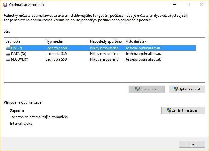 Operační systém Windows se téměř kompletně postará jak o optimalizaci pevných disků, tak i disků SSD.