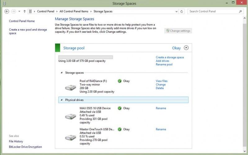 Po naformátování nového prostoru zobrazí Windows 8 úložiště i prostory v nabídce Storage Spaces