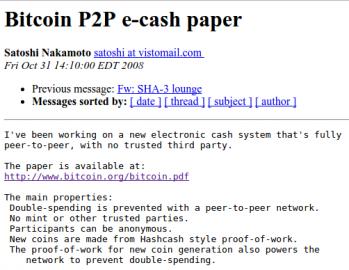Představení Bitcoinu světu na mailing listu metzdowd