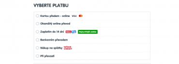 Možnost Zaplatit za 14 dní najdete na Mall.cz po vstupu do košíku mezi dalšími platebními variantami (25. 2. 2020).