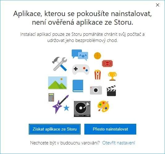 Instalace aplikací pouze z Windows Store s upozorněním
