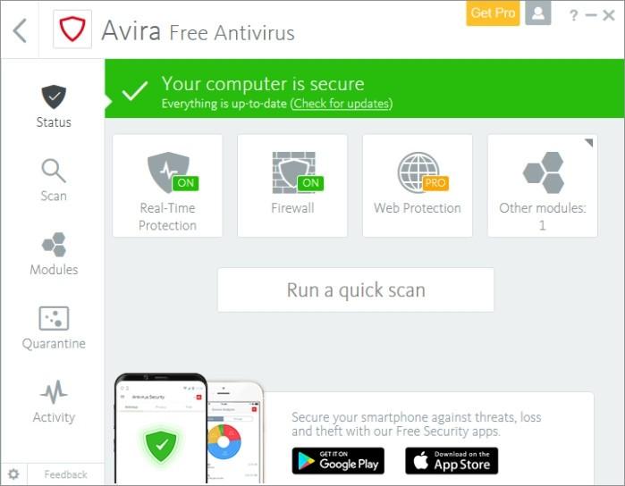 Podle výsledků testů prováděných nezávislou institucí AV-Test patří Avira Antivirus mezi nejlepší. Po instalaci tohoto zdarma dostupného programu můžete mít zcela oprávněný pocit, že jste svůj počítač zabezpečili relativně slušně.