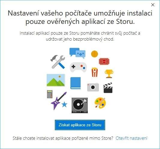 Instalace a zdroje aplikací pro Windows 10 pouze z Windows Store
