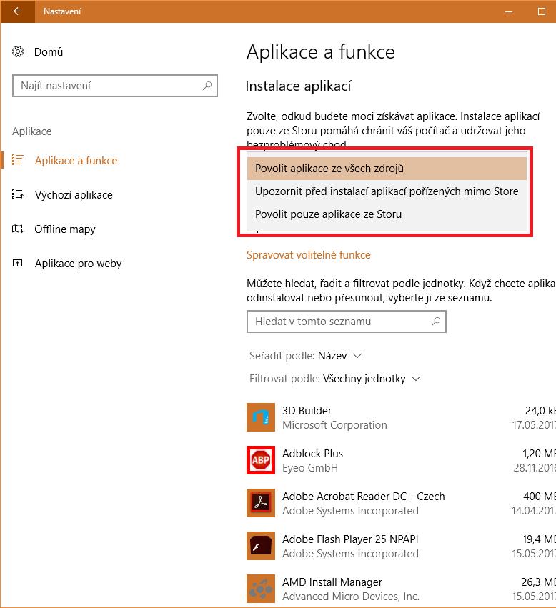 Instalace a zdroje aplikací pro Windows 10