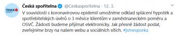 Česká spořitelna oznámila možnost odložit si splátky svým kleientům i na twitteru. (13. 3. 2020)