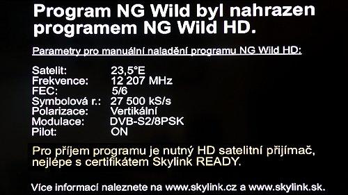 Statická obrazovka upozorňující na ukončení distribuce kanálu Nat Geo Wild ve standardním rozlišení.