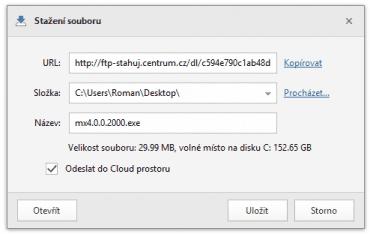 Soubor je možné stáhnout jak na disk, tak i do cloudového úložiště