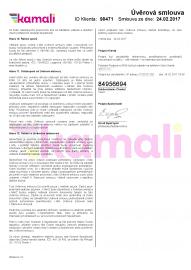 Úvěrová smlouva k půjčce Kamali.